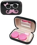 Bow Mustache Contact Lens Travel Kit (Black/Pink)